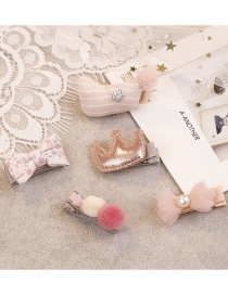 Fashion Pink Bowknot&crown Shape Decorated Hair Clip (5 Pcs )