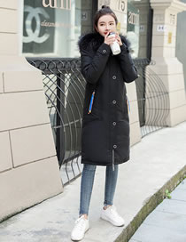 Simple Black Fur Collar Decorated Pur Color Down Jacket