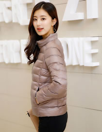 Simple Dark Khaki Pure Color Decorated Down Jacket