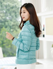 Simple Light Blue Pure Color Decorated Down Jacket