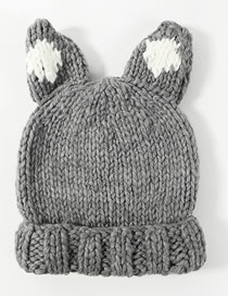 Lovely Gray Ears Shape Design Knitted Hat