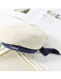 Fashion Milky White Bowknot Decorated Embroidered Hat