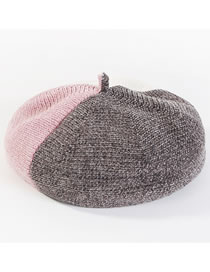 Fashion Black+pink Color Matching Decorated Thickened Hat