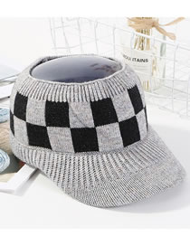 Fashion Gray Grid Pattern Decorated Knitted Hat