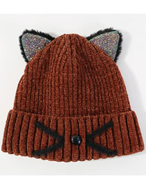 Lovely Coffee Cat Shape Design Thicken Knitted Hat
