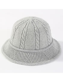 Fashion Light Gray Hemp Flowers Shape Design Knitted Hat