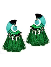 Simple Green Tassel Decorated Earrings