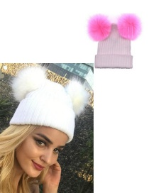 Fashion White+pink Pom Ball Decorated Hat
