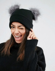 Fashion Black+gray Pom Ball Decorated Pure Color Hat