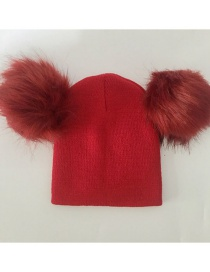 Fashion Red Pom Ball Decorated Pure Color Hat