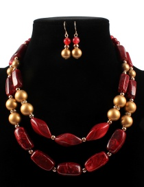 Fashion Red Pearls&beads Decorated Jewelry Sets