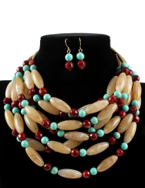 Fashion Khaki+red Beads Decorated Color Matching Jewelry Sets