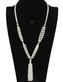 Fashion White Tassel Decorated Long Necklace