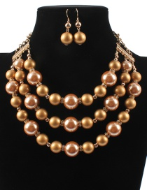 Fashion Coffee Pearls Decorated Multi-layer Jewelry Sets