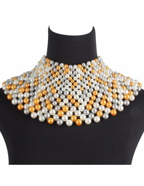 Fashion Multi-color Pearls Decorated Hand-woven Necklace