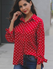 Fashion Red Dots Pattern Decorated Simple Shirt
