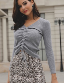 Fashion Gray V Neckline Design Drawstring Knitted Sweater