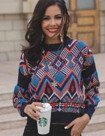 Fashion Blue Geomstric Shape Pattern Decorated Sweater
