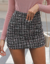 Fashion Black Grid Pattern Design Simple Skirt