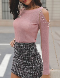 Fashion Pink Pearls Decorated Pure Color Knitted Sweater