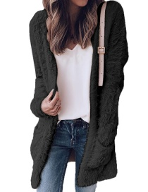 Fashion Black Pure Color Design Long Sleeves Coat