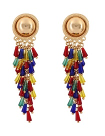 Fashion Gold Color Beads Decorated Color Matching Earrings