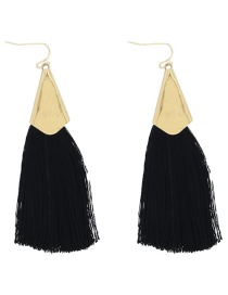 Fashion Black Tassel Decorated Long Earrings