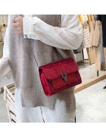 Fashion Claret Red Grid Pattern Design Square Shape Bag