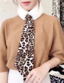 Fashion White Leopard Pattern Decorated Bowknot Scarf