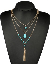 Fashion Gold Color+blue Waterdrop Shape Decorated Tassel Necklace