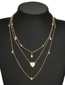 Fashion Gold Color Heart Shape Decorated Multi-layer Deisgn Necklace