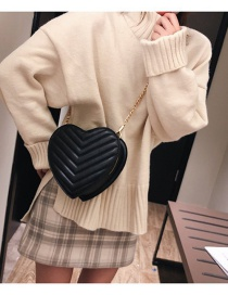Fashion Black Heart Shape Decorated Shoulder Bag