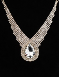Fashion Gold Color Waterdrop Shape Diamond Decorated Necklace
