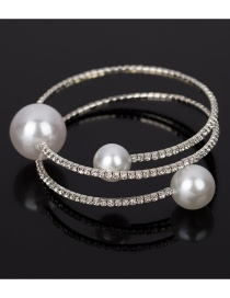 Fashion Silver Color Pearls&diamond Decorated Opening Bracelet
