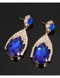 Fashion Sapphire Blue Waterdrop Shape Diamond Decorated Earrings