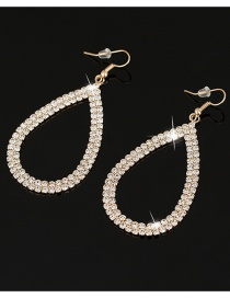 Fashion Gold Color Pure Color Design Waterdrop Shape Earrings