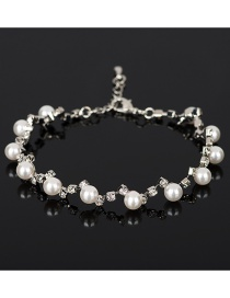 Fashion White Pearls&diamond Decorated Simple Bracelet