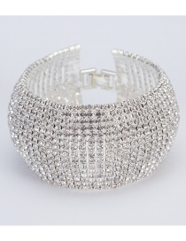 Fashion Silver Color Full Diamond Design Pure Color Bracelet