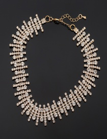 Fashion Gold Color Full Diamond Design Pure Color Necklace