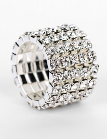Fashion Silver Color Multi-layer Diamond Design Ring