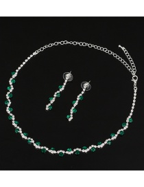 Fashion Green Full Diamond Design Bridal Jewelry Sets