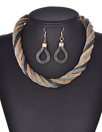Fashion Dark Gray Multi-layer Design Simple Jewelry Sets