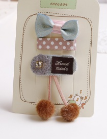Lovely Brown+gray Cherry&bowknot Decorated Hair Clip(3pcs)