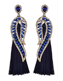 Fashion Navy Diamond Decorated Long Tassel Earrings