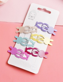 Lovely Muti-color Rabbit Shape Design Child Hairpin(6pcs)