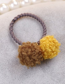 Lovely Brown+yellow Fuzzy Balls Decorated Hair Band(1pc)