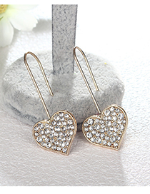 Fashion Gold Color Heart Shape Design Long Earrings