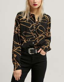 Fashion Black Chains Pattern Decorated Simple Shirt