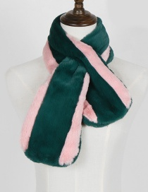 Fashion Green+pink Color Matching Design Thicken Scarf