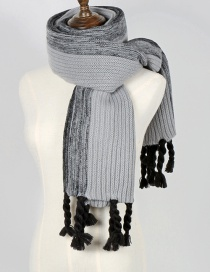 Fashion Gray+black Color Matching Design Tassel Scarf